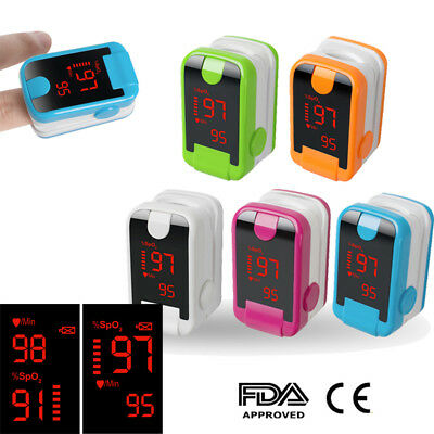 A Finger Pulse Oximeter Blood Oxygen Saturation SPO2 Heart Rate O2 Monitor Meter