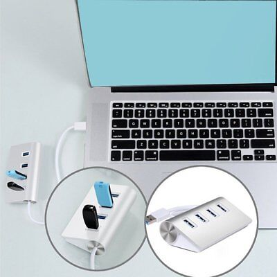 Portable Aluminum 4 Ports Super High-Speed USB 3.0 Hub Adapter for PC Laptop MW