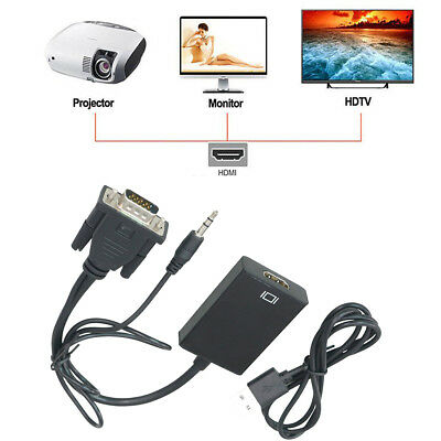 VGA Male to HDMI Output 1080P HD&Video Cable Audio TV AV HDTV Converter Adapter