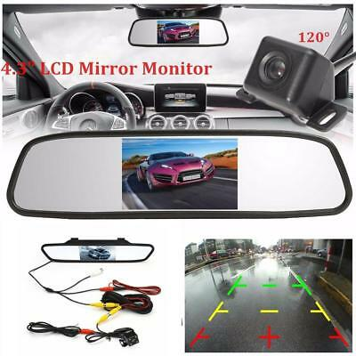 "4.3"" Rear View Mirror Monitor+Waterproof Reverse Car Backup CCD Camera Kit"