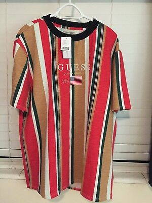09eb32f3e4 Men's Guess Jeans Los Angeles Red David Sayer Oversized Striped T-Shirt  Large