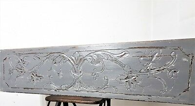 Architectural gothic scroll leaves painted pediment Antique french panel trim