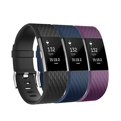 3 Pack Replacement Wristband For Fitbit Charge 2 Band Silicone Fitness Large USA