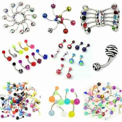 12x Fashion Surgical Steel Crystal Belly Button Navel Bar Ring Piercing Jewelry