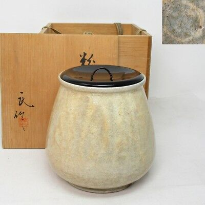 B824: Japanese water jug of pottery with good KOBIKI glaze and signed box