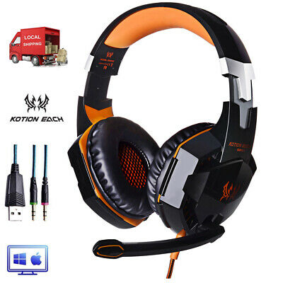 EACH 3.5mm Gaming Headset MIC LED G2000 Stereo for PC Laptop PS4 Xbox 360 E3R2