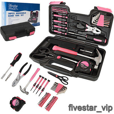 39 Piece Precition Hand Tool Kit Pink Household Set Box Ladies Women Home Tools