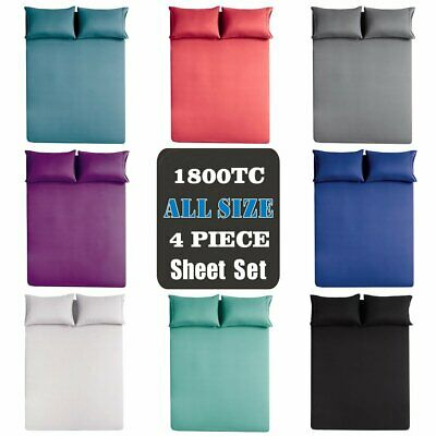 1800TC Ultra SOFT 4 Piece FLAT & FITTED Sheet Set Single/Double/Queen/King Bed