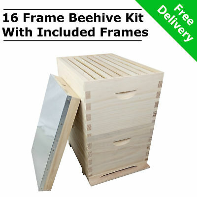 8 Frame Double Beehive Kit 16 x Frames Bee Box NZ Pine Timber Bee Hive Wooden
