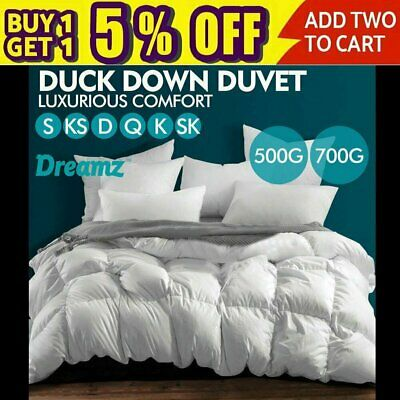 500/700GSM Duvet Doona Quilt Duck Down Feather Bedding Summer Winter All Season