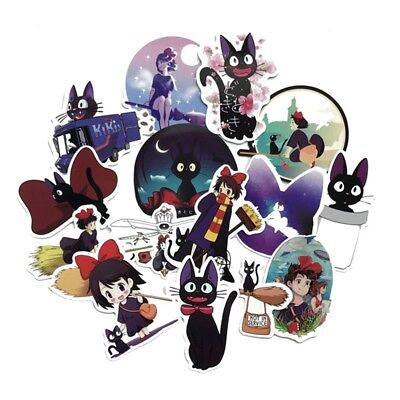15× Kiki's Delivery Service Sticker Anime Stickers For Laptop Suitcas Bicycle