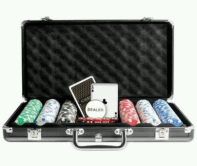 protocol 300 poker chip set gambling Texas hold-em factory sealed briefcase game