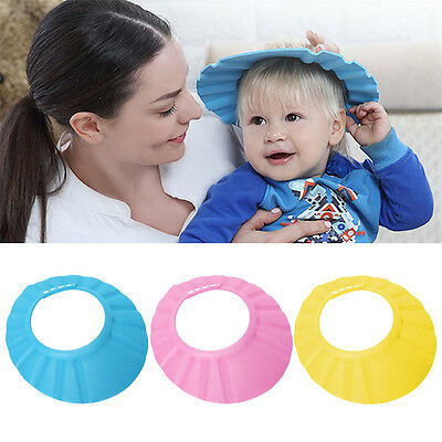 Baby Kids Bath Bathing Shower Cap Hat Wash Safety Hair Shield Care of Eyes Cover