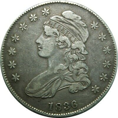 1836/1336 Capped Bust Half Dollar O-108 rare old type coin A26