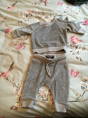 Next Baby Velour Dinosaur Tracksuit 3-6 Months