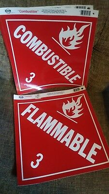 "(5) Classics Plus Flammable 3 / Combustible 3 Decals 10-5/8"" Made in USA"
