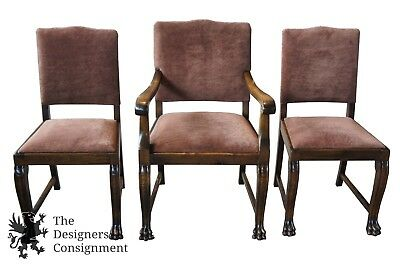 3 Antique French Empire Style Walnut Chairs Lion Paw Foot Accent Arm Desk Seat