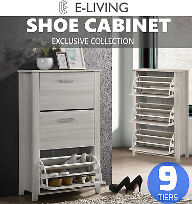SVEN Shoe Cabinet w/ 3 Components Drawers Rack Storage Organiser - White Oak