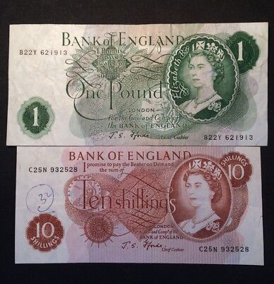 Bank Of England One Pound/Ten Shilling Notes