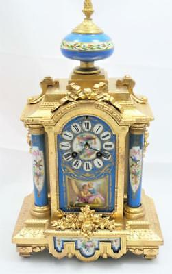 Antique French Mantle Clock Beautiful Ormolu & Blue Sevres 1880's 8 Day Striking