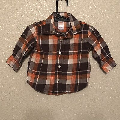 Gymboree baby boys 3-6 mth flannel Orange plaid long sleeve shirt Thanksgiving