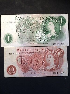 Bank Of England One Pound/ Ten Shilling Notes