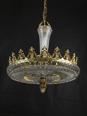 Lovely Unique Antique French Glass and Brass 3 Light Chandelier Ceiling Light