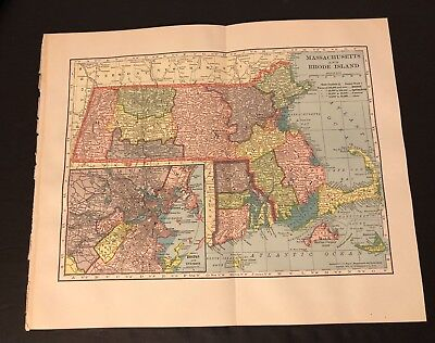 Antique Folding Color Map 1904 C.S. Hammond Co. of MASSACHUSETTS & RHODE ISLAND