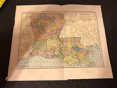 Antique Folding Color Map Copyright 1904 C.S. Hammond Co. of LOUISIANA