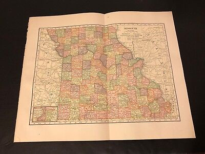 Antique Folding Color Map Copyright 1904 C.S. Hammond Co. of MISSOURI