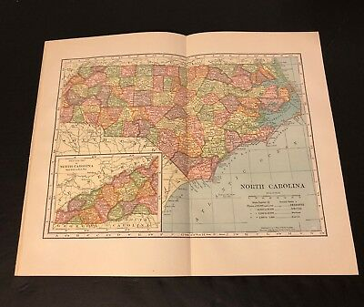 Antique Folding Color Map Copyright 1904 C.S. Hammond Co. of NORTH CAROLINA