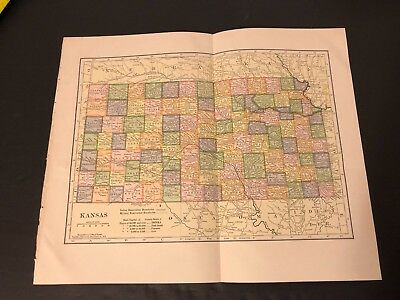 Antique Folding Color Map Copyright 1904 C.S. Hammond Co. of KANSAS