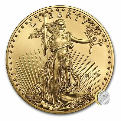 2017 US Mint $5 American Gold Eagle 1/10 oz Gold Coin | Direct From Mint Tube