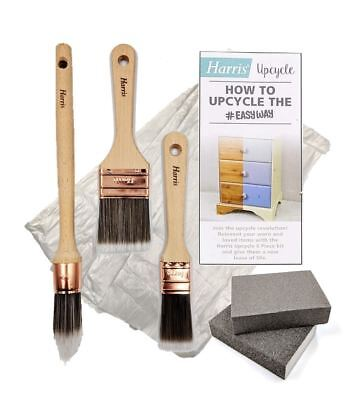 Harris Upcycle Kit How to Paint Furniture Guide Wooden Chalk Paint Brush 6pc Set