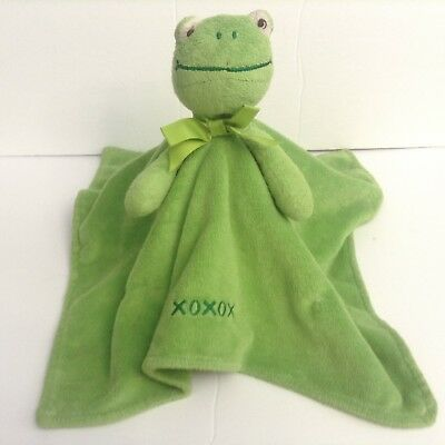 Honey Bunny Green Frog Security Blanket Lovey XOXOX Embroidery