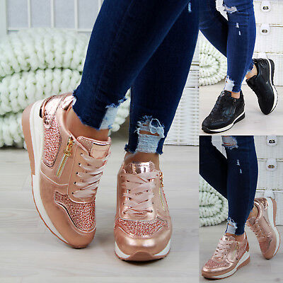 New Womens Lace Up Trainers Flat Glitter Zip Walking Sports Ladies Shoes Sizes