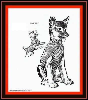 DOG Sweater Turtleneck Coat DOGS Puppy PERRO Vintage Knitting MO Pattern 5138