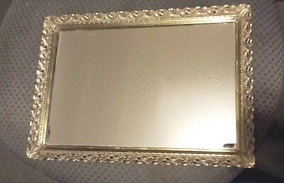 "VINTAGE Rectangular Dresser Vanity Mirror Tray Gold Tone FILIGREE 13.25"" X 9.25"""