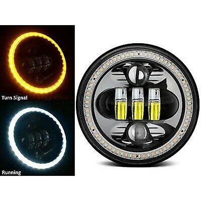 """5-3/4"""" LED Black Octane Projector White Amber Halo Crystal Clear Headlight"""