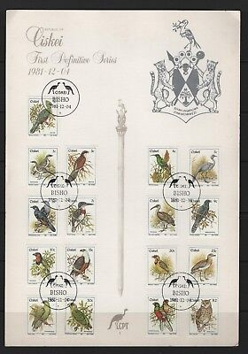 Lovely South Africa complete Issue Ciskei Block6 9253076 Fine Used / Cancelled 1