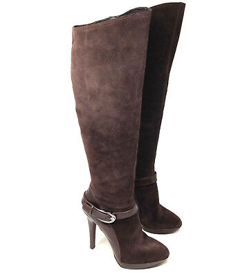 Caressa Womens Boots Hanson Brown Suede Leather Knee High Heeled Shoes Size 6.5