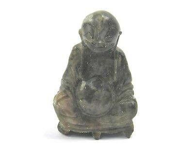 Vintage Oriental carved soapstone figure sculpture of a buddha