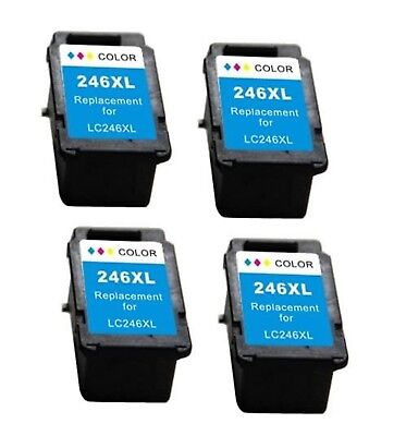 4Pk Non-Oem Ink For Canon Cl-246Xl Colour Pixma Mg2929 Mg3020 Mg3029 Mx490 Mx492