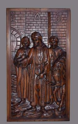 Architectural Deep Carved Wood Wall Panel of Three Orientalist Men Middle Ages