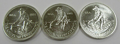 """1984-1987 Lot of 3 Vintage """"American Prospector"""" 1 oz .999 Silver Art Rounds"""
