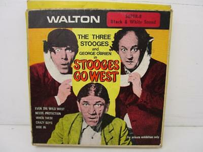 Vintage Super 8mm Film The Three Stooges in Stooges Go West Boxed B/W Sound