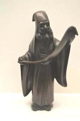 Antique Chinese Bronze Scholar Sculpture Confucius