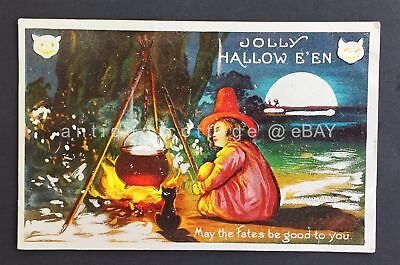 1909 antique JOLLY HALLOW E'EN halloween PC black cat couldron embossed witch