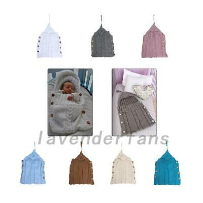 NEW Newborn Baby Hooded Swaddle Wrap Warm Knit Swaddling Blanket Sleeping Bag