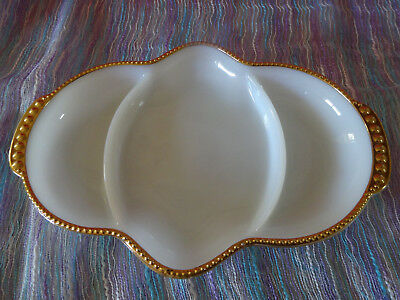 Fire King Milk Glass Segmented Tapas Dish With Gold Rim